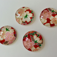 Glass Fridge Magnets With Cherry Blossom, Set Of 4