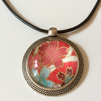 Glass Cabochon pendant necklace With Cherry Blossom