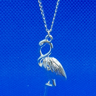 Silver plated flamingo pendant on a Sterling Silver chain