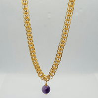 Gold plated chainmaille necklace with Amethyst bead