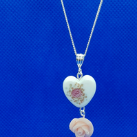 Murano glass heart & rose pendant and Sterling Silver chain