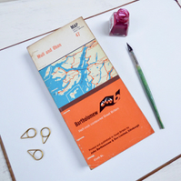 Tall and slim journal with vintage map covers, mixed paper pages and tabs