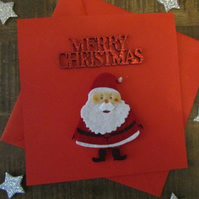 Christmas Card - Father Christmas - Handmade - Glitter Card - Merry Christmas