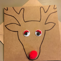 Cute Rudolph Christmas Card - Rudolph Red Nose Card
