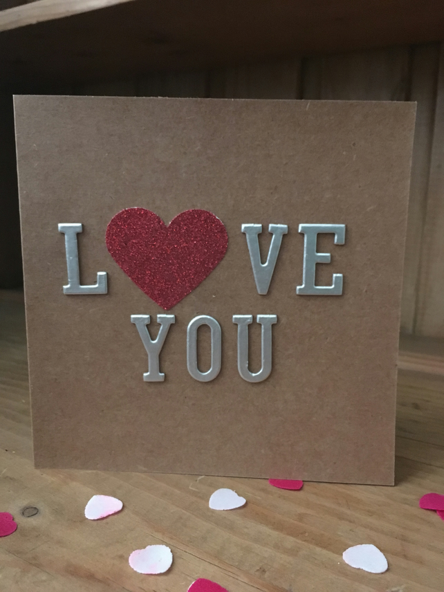 Valentines Day Card - Love You - Valentines Card