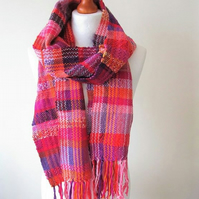 Hand Woven Pink Scarf