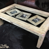 Hand crafted vintage memories coffee table