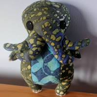 Dark Green Batik with Blue and Turquoise Chibi Cthulhu, Elder God
