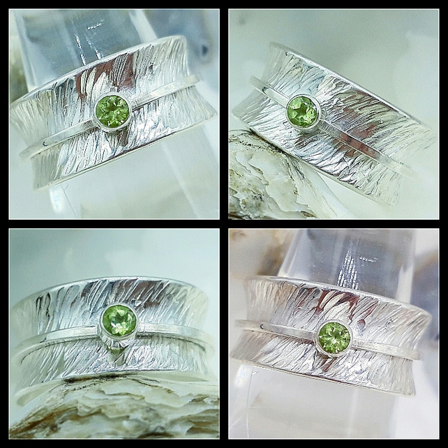 Hallmarked  Handcrafted Sterling Silver Spinner Ring Set with a Faceted Peridot