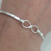 Handcrafted Sterling Silver Infinity Clasp Bangle