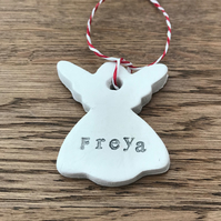 Personalised Clay angel Christmas decoration