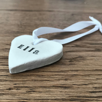 Personalied clay heart decoration
