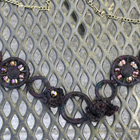 Steampunk blackwatch beaded crochet necklace