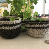 set of three small crochet baskets