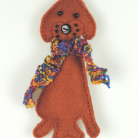 Labrador Felt Christmas Tree Decoration, with a Hand knitted Scarf