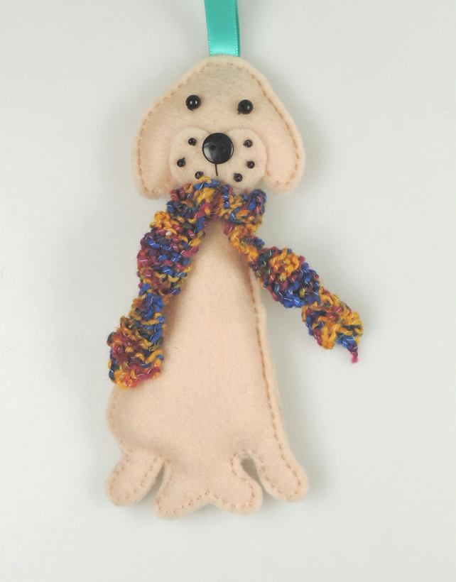 Large Golden Labrador Felt Dog Christmas Tree Decoration with Hand Knitted Scarf