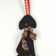 Large Black Labrador Felt Dog Christmas Tree Decoration with Hand Knitted Scarf