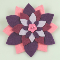 Star Flower Felt Brooch, Handmade in Purples & Pinks , Gift, Birthday, Christmas