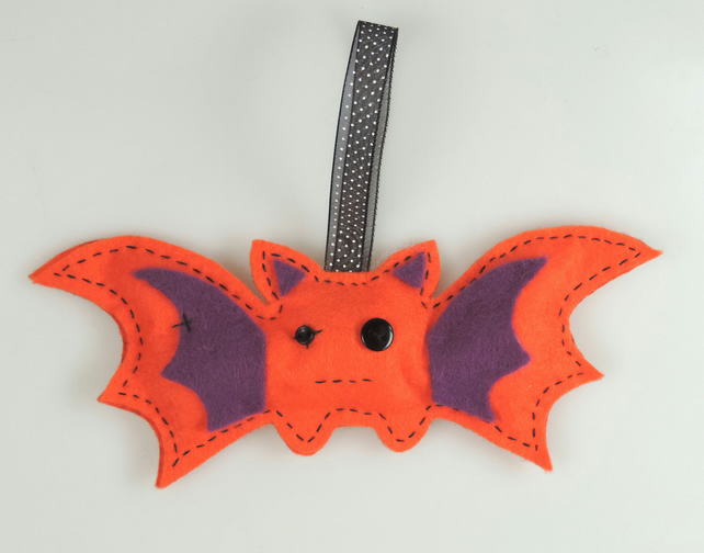 Bright Orange Handmade Felt Bat, Halloween Twig Tree Decoration
