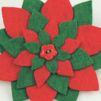 Christmas Star Flower Felt Brooch, Handmade in Red and Green ,Seasonal Gift,