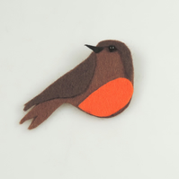 Handmade Felt Robin Brooch, Christmas Robin, Winter Bird Theme, Robin Brooch