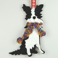 Border Collie Dog Felt Christmas Tree Decoration, with a Hand knitted Scarf