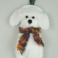 Handmade Felt Bichon Frise Christmas Decoration, with hand knitted scarf