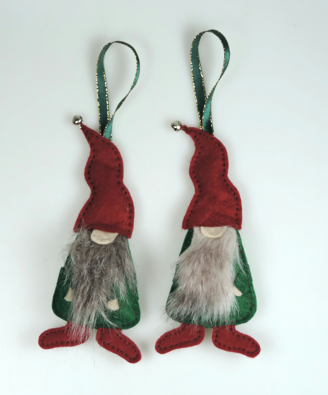 2 x Scandi Style Gnomes, Christmas Elves, a Pair of Christmas Bearded Gnomes,