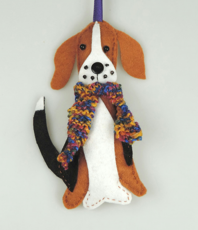 Beagle Dog Felt Christmas Tree Decoration, with a Hand knitted Scarf
