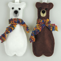 Two Winter Felt Bears, Polar Bear & Brown Bear Christmas Tree Decorations