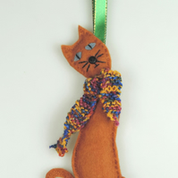 Felt Slinky Cat Handmade Christmas Decoration with Hand Knitted Scarf