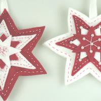 Set of 2 Large Felt Stars, White & Deep Pink, Handmade, embellished with Pearls