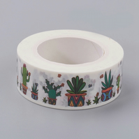 Cactus Pattern Decorative Washi Tape, Card Making, Crafts, Journals, Kawaii Tape