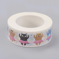 Dancing Cats Washi Tape, Ballet Cat Decorative Tape, Cards, Journals, Crafts,