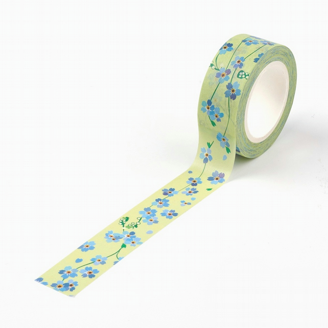 Forget Me Not Flower Pattern Washi Tape, blue flower decorative tape,