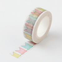Pennant Style flag bunting Washi Tape, Stripes & Spots, Decorative Tape, 10m