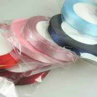 10mm Wide Satin Ribbon, 25 yards or 22m Single faced, 7 Colours, Crafts, Gifts,