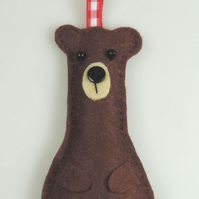 Brown Bear Felt Hanging Decoration, Twig Tree, Felt Handmade Grizzly Bear