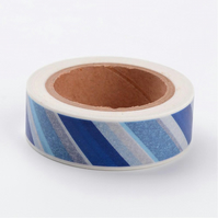 Blue Stripe, Shades of blue stripe, Decorative Washi Tape, Cards, Crafts, 10m