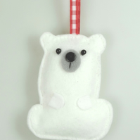 Polar Bear Felt Hanging Decoration, Twig Tree, Felt Handmade White snow bear