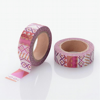 Geometric bold Pink, purple pattern, Decorative Washi Tape, Card making, 10m