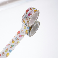 Ice Cream Cone Washi Tape, 5m, Ice Cream Decorative Tape, Cards, Journals, Craft