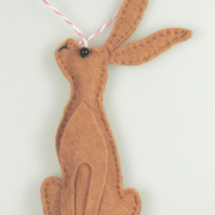 Seated Hare in Felt, handmade hanging decoration, Twig Tree, Cute Easter Hare.