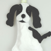 Handmade Felt Spaniel Dog, Hanging Decoration, Twig Tree Dog Lovers Gift