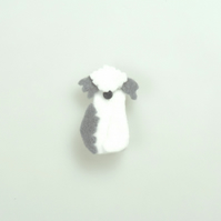 Old English Sheepdog Brooch, Handmade Felt Brooch, Super Cute Little Brooch Gift