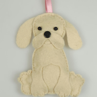 Handmade Felt Kawaii Golden Puppy Dog, Hanging Decoration, Twig Tree Dog Lovers