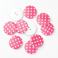 Fuschia Pink, 30mm, 3cm Round wooden buttons, Craft Supplies, Large Buttons, x 5
