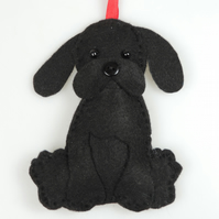 Handmade Felt Kawaii Black Puppy Dog, Hanging Decoration, Twig Tree Dog Lovers