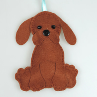 Handmade Felt Kawaii Brown Puppy Dog, Hanging Decoration, Twig Tree Dog Lovers