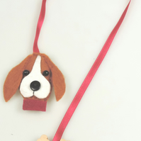 Beagle dog Felt & Ribbon Bookmark, Ideal Gift, Dog Lover, Avid Reader, Handmade.